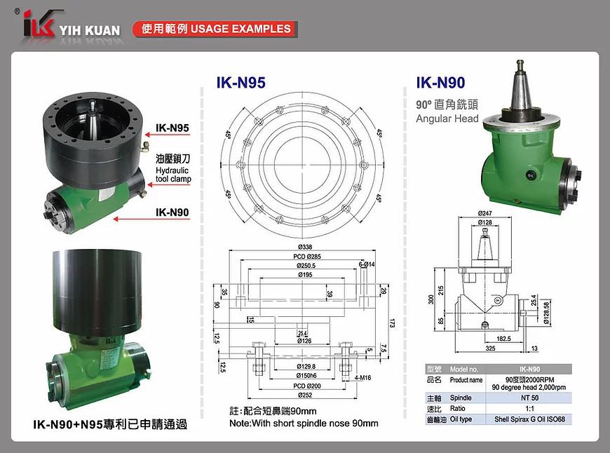 90° 半自動直角銑頭+油壓轉盤 90° 直角銑頭
